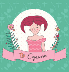 Cute horoscope zodiac girl capricorn vector