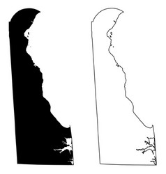 delaware de state maps usa vector image