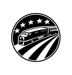 diesel locomotive train with american flag vector image