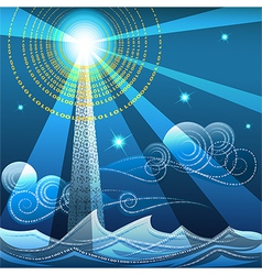Digital lighthouse vector