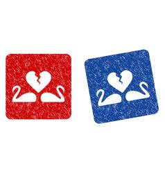 Divorce swans grunge textured icon vector