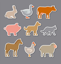 domestic animals stickers vector image