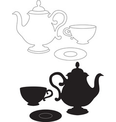 Drawing of a kettle cup and saucer vector