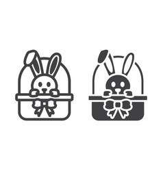easter bunny in basket line and glyph icon vector image