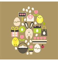 Easter holiday Flat Icons Set over light brown vector