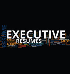 Executive resumes text background word cloud vector