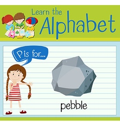 Flashcard letter P is for pebble vector