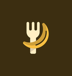 Fork eat banana creative objective logo vector