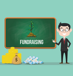 Fundraising business concept with business man vector