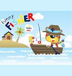 Funny fisher cartoon on wooden boat vector