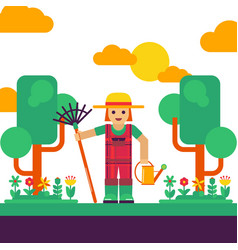 Gardener with rake and watering can vector