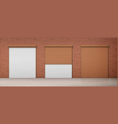 Gate with brown rolling shutter in brick wall vector
