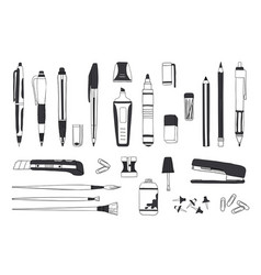 Hand drawn stationery doodle pen pencil vector