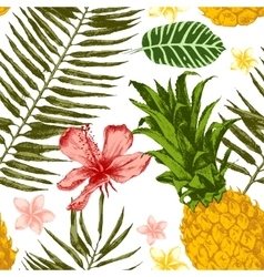 Hand drawn tropical seamless vector