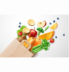 Healthy food organic fruit in shopping bag vector