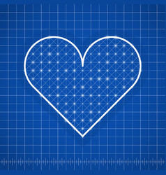 heart shape drawing template with blue background vector image