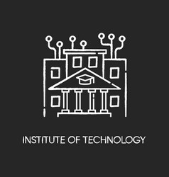 Institute technology chalk white icon on black vector