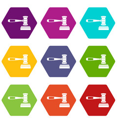 judge gavel icon set color hexahedron vector image