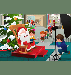 Kids lining up to take pictures with santa claus vector
