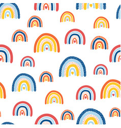 kids rainbow pattern seamless repeating hand vector image
