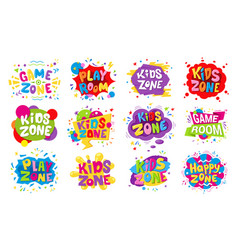 Kids zone emblem colorful cartoon vector