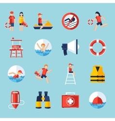 Lifeguard icons set vector image