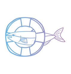 Line fish with life buoy object design vector