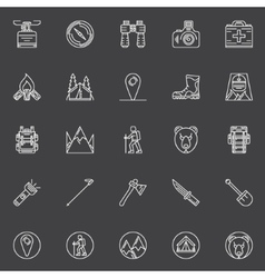 Linear hiking icons vector