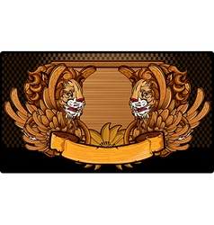 Lion wood frame vector