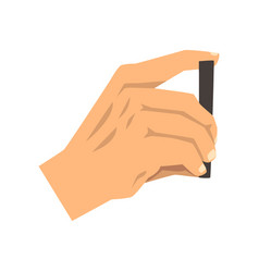male hand taking picture with smart phone vector image