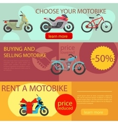 Motorbike rent and buy banners vector image