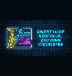 neon jazz cafe and saxophone glowing sign with vector image