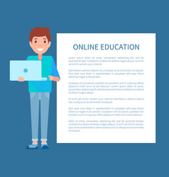 online education poster text man with notebook vector image