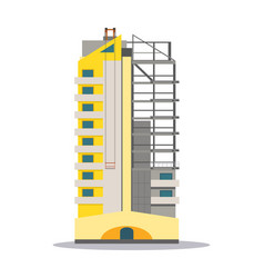 Partly unfinished yellow building skyscraper vector