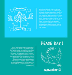 peace day symbols pigeon with olive branch tree vector image