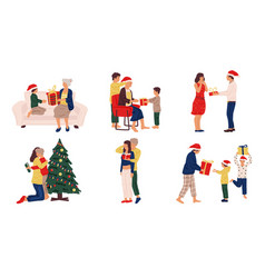 people with christmas presents winter celebration vector image