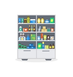 Pharmacy Showcase or Shop Shelves vector image