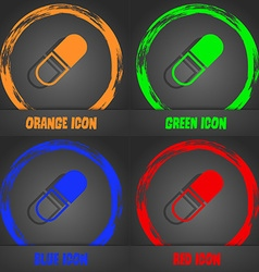pill icon Fashionable modern style In the orange vector image