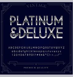Platinum silver or chrome metallic font set vector