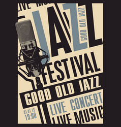 Poster for jazz music festival with microphone vector