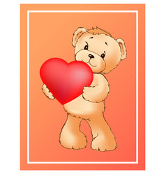poster with cute teddy bear holding heart balloon vector image