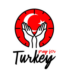 pray for turkey two hand gently holding position vector image