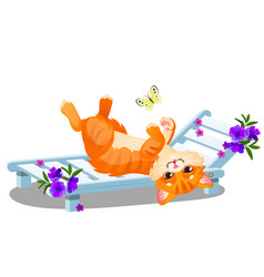 red striped animated cat lying on a sunbed and vector image