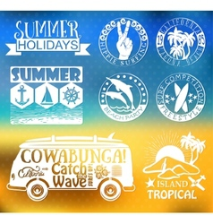 Retro elements for Summer surfing designs vector image