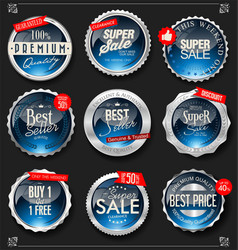retro vintage silver and blue badges and labels vector image