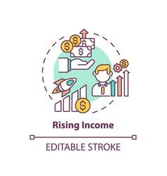 Rising income concept icon vector