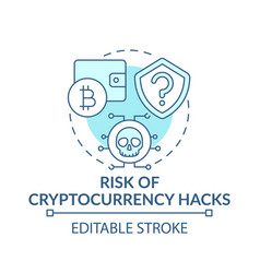 Risk cryptocurrency hacks concept icon vector