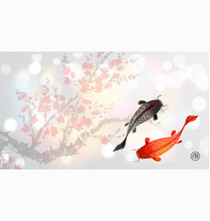 sakura branch in blossom and two big fishes on vector image