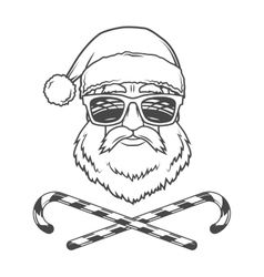 Santa Claus biker with candy cones and hipster vector image