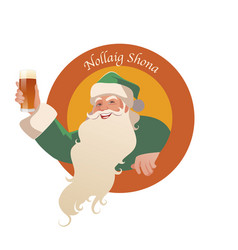 santa claus holding a glass of beer-01 vector image